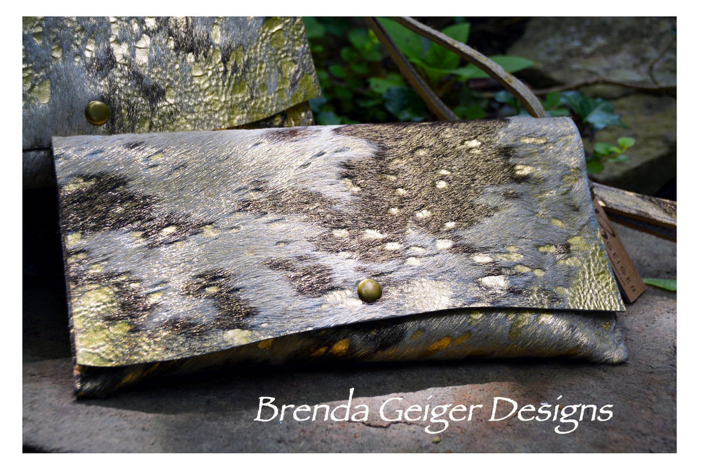 Metallic Cream and Tan Cowhide Clutch