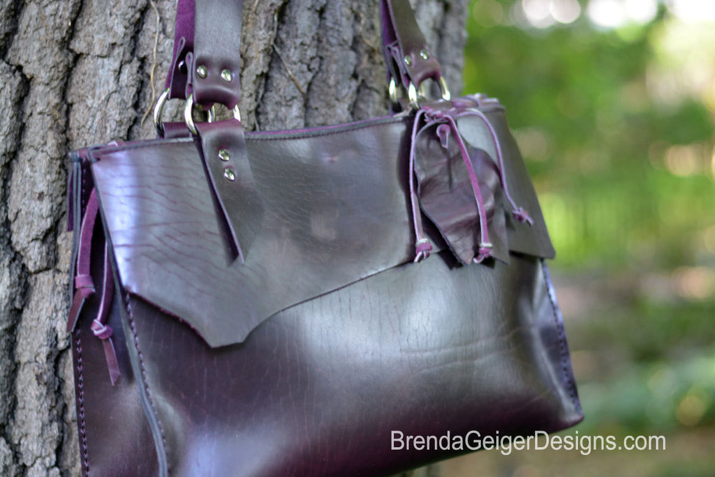 Leather Tote - Eggplant SOLD OUT