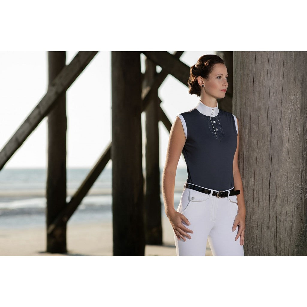 HKM Venezia Ladies Sleeveless Competition Shirt- Navy - Divine Equestrian