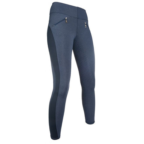 HKM SS19 Limoni Silicon Full Seat Ladies Riding Leggings - Jeans Blue