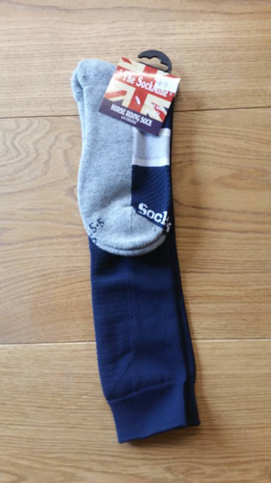 Hartpury Long Sock Navy with Grey foot - Divine Equestrian