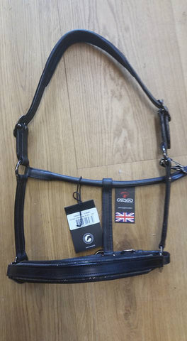 Catago Leather Headcollar with added beading & Smoked black fittings