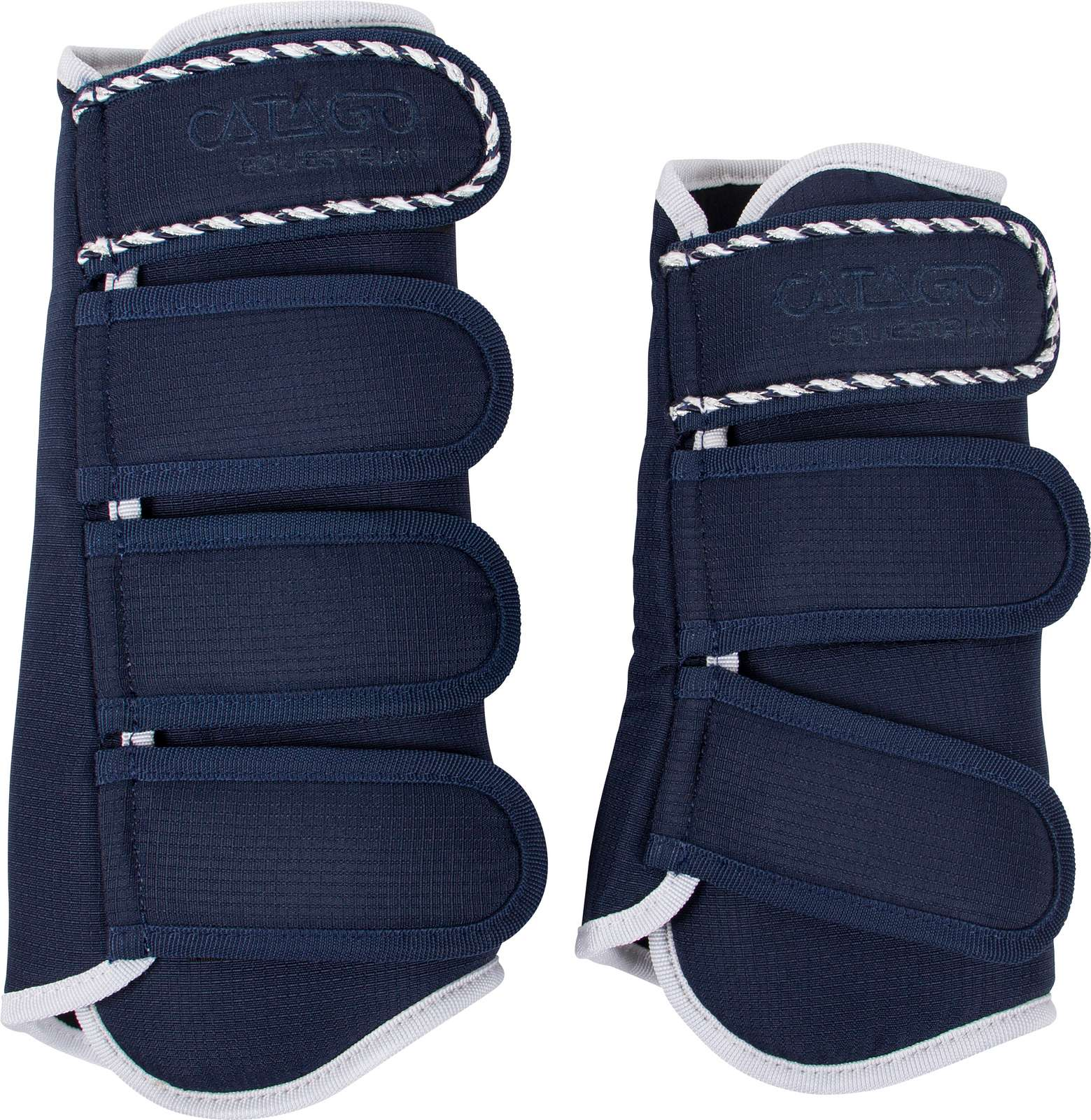 CATAGO Diamond Brushing Boots - Navy / White - Divine Equestrian