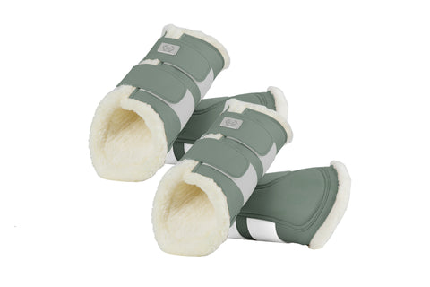 PS of Sweden Monogram Artificial sheepskin Brushing Boots - Sage - Divine Equestrian