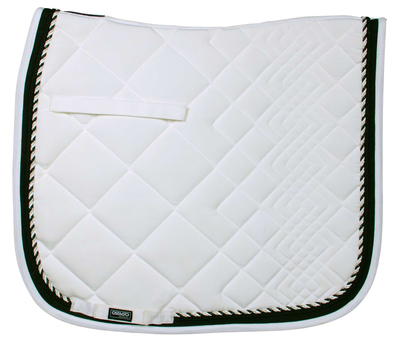 CATAGO Comfort Diamond saddle pad In White / Black - Dressage Only - Divine Equestrian