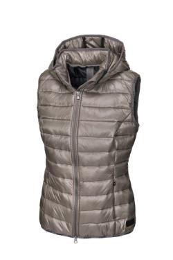 Pikeur AW19 Iva Quilted Waistcoat with Detachable Hood - Taupe - Divine Equestrian