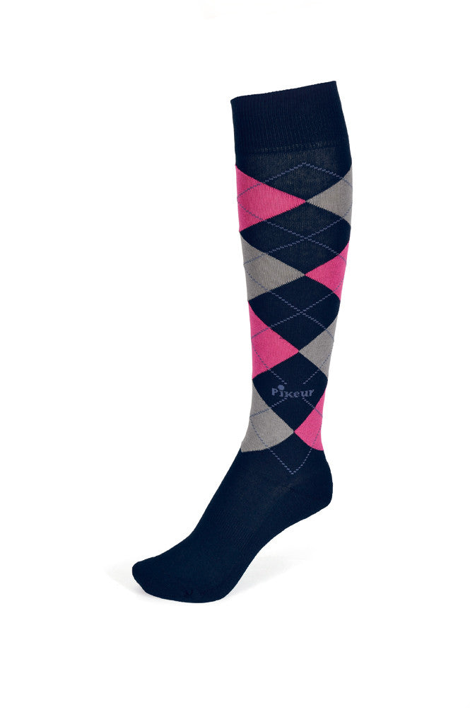 Pikeur SS16 Knee Legnth Diamond Socks Navy Magenta Anthra - Divine Equestrian