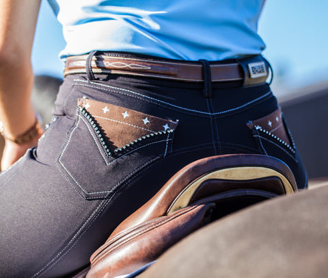 Euro-star Dela Knee Grip Breech - Navy - Divine Equestrian