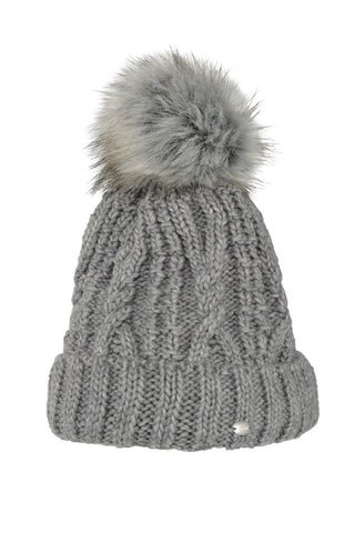 Pikeur Bobble Hat with Faux Fur - Grey - Divine Equestrian