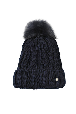 Pikeur Fake Fur Bobble Hat - Navy
