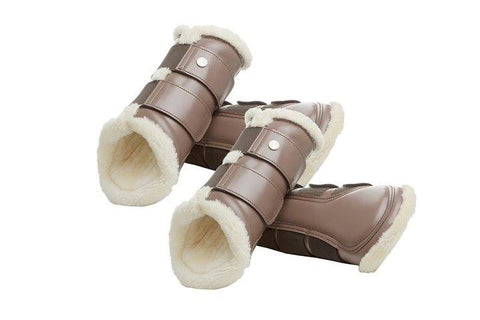 PS of Sweden Monogram Artificial sheepskin Brushing Boots - Walnut - Divine Equestrian