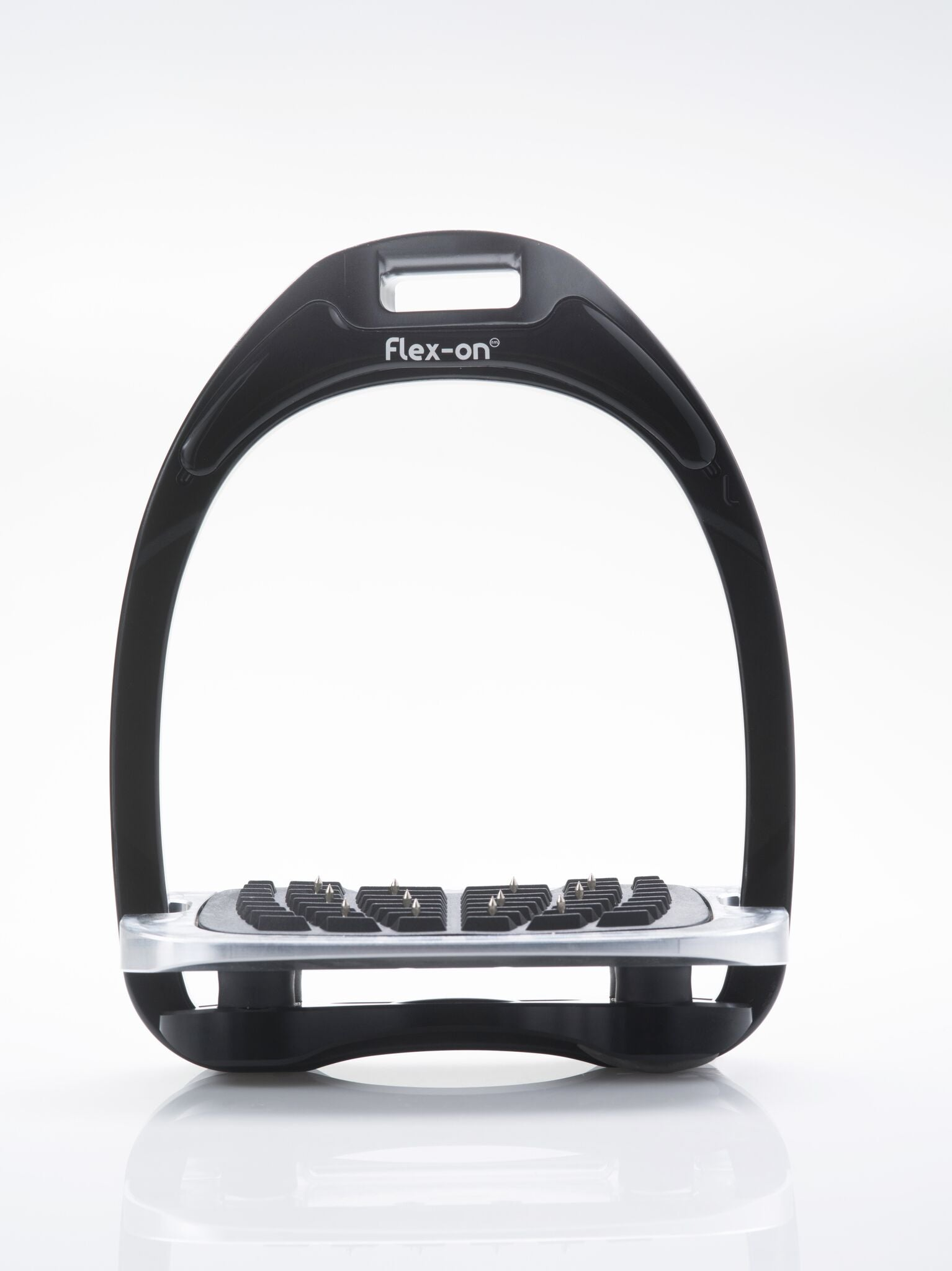 Flex-on Aluminium Stirrups - BLACK -  WITH FOOTREST & ELASTOMER CHOICE - Divine Equestrian