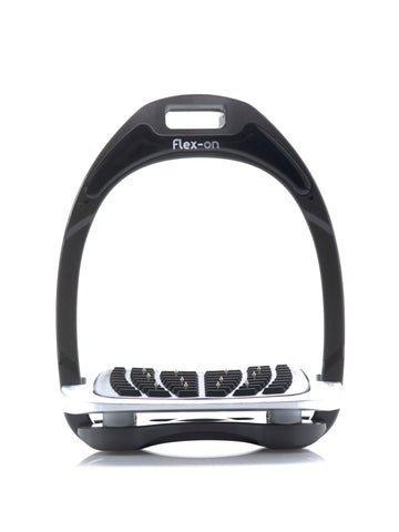 Flex-on Aluminium Stirrups - BLACK -  WITH FOOTREST & ELASTOMER CHOICE