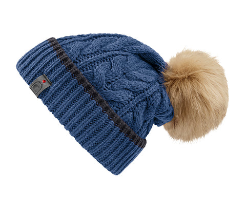 Cavallo Jana Faux Fur Pompom Hat - Denim / Graphite