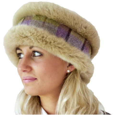 Beige and Spring Purple/lilac and grey coloured tweed reversible head-warmer
