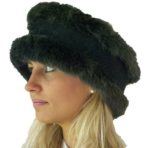 Charcoal Faux Fur and Black Velvet Head Warmer