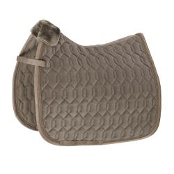 Eskadron Classic SS21 VELVET Saddle Pad TENDER TAUPE- DRESSAGE or JUMP - Divine Equestrian