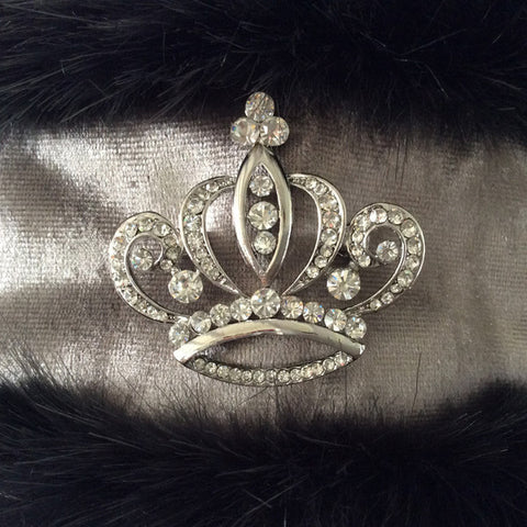 Charlotte Luxury Charcoal grey faux fur and shimmer with crystal crown reversible head-warmer