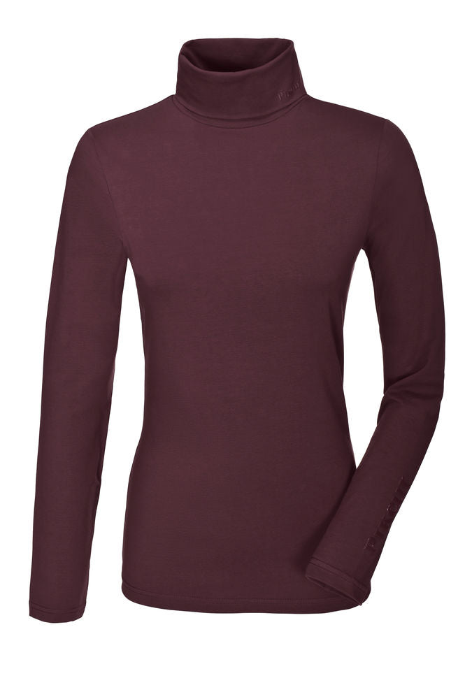 PIKEUR AW19 SINA LADIES POLO NECK TOP - BORDEAUX - Divine Equestrian