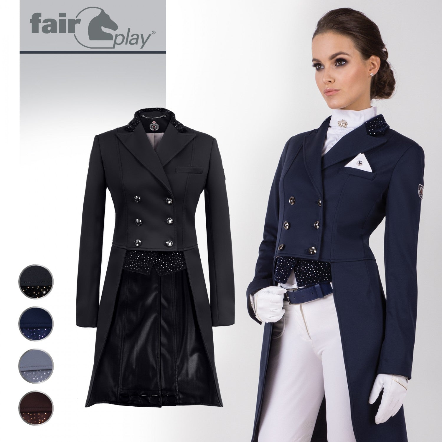 Fairplay Betty Ladies Tailcoat - Navy - Divine Equestrian