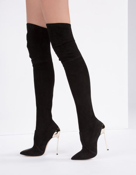 'Etta' Suede Thigh High Boots - Black - Bleu Luxury