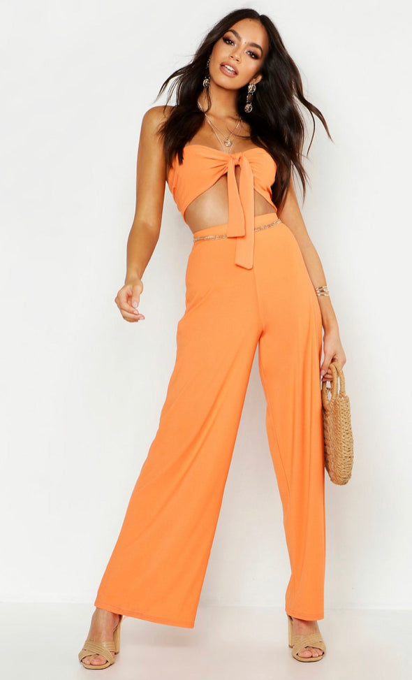 Zoey Tie Firm Bralet &  Wide Leg Pants Two Piece Set