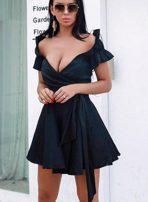 """BEYZA"" Off Shoulder Mini Dress - Black - Bleu Luxury"
