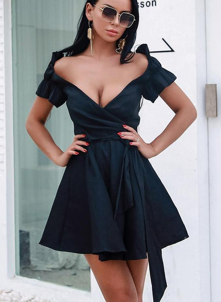 'Beyza' Off Shoulder Mini Dress - Black - Bleu Luxury