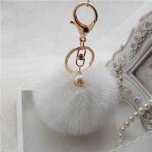 'Obsessed' Pom-Pom Keychain - White - Bleu Luxury