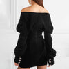 """SHANIE"" Elegant Off Shoulder Black Velvet V-Neck - Bleu Luxury"