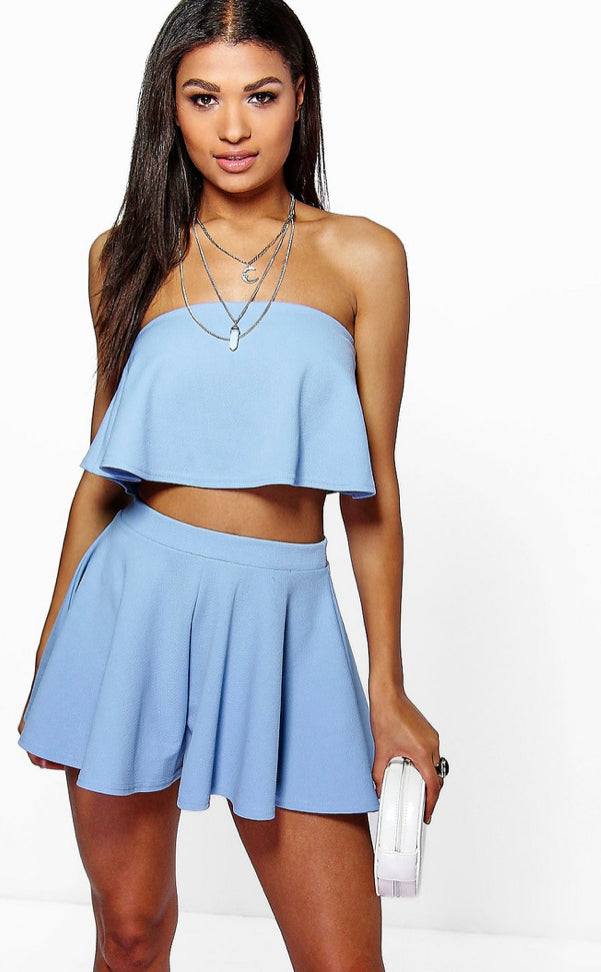 Bandeau Crop And Shorts Two Piece set