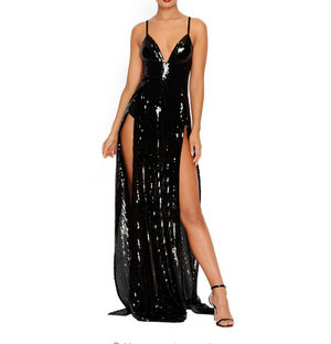 """YULIA"" Sequin Maxi Dress Deep V Neck, Split Thigh & Backless - Bleu Luxury"