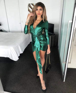 """LINZA"" Cinched Shimmer Mini Dress - Emerald"