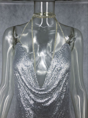 'Marina' Mesh Dress - Silver - Bleu Luxury