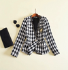 """GLORIA""   Houndstooth Tweed Jacket Outer Coat - Black & White - Bleu Luxury"