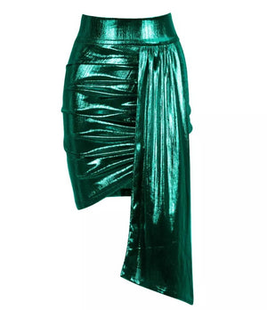 """ORELLA"" Metallic Sash Mini Skirt - Bleu Luxury"