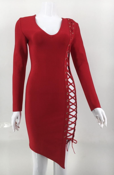 'Rosaline' Lace-Up Bandage Dress - Red