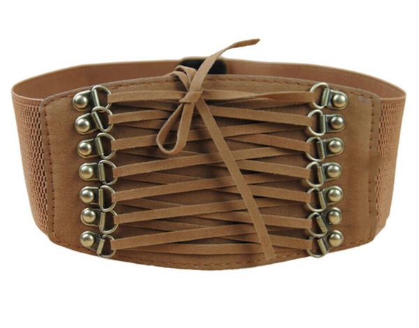 'Vixen' Suede Corset Belt - Tan - Bleu Luxury