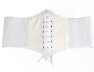 'Smoke' Lace-Up Corset Belt - White - Bleu Luxury