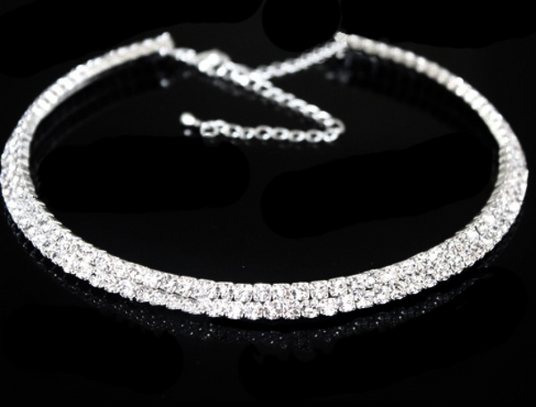 'Tease Me' Crystal Choker - 2 Row - Bleu Luxury