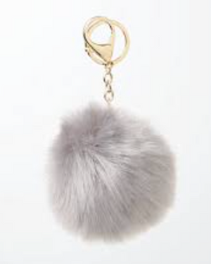 'Obsessed' Pom-Pom Keychain - Grey - Bleu Luxury