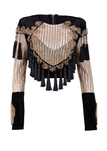 'Harveen' Beaded Tassel Crop Top - Gold