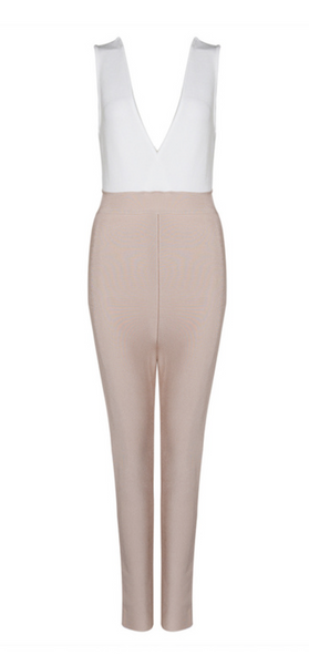 'Martyna' Two-Tone Bandage Jumpsuit - White and Nude