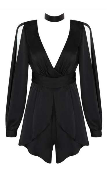 'Sheera' Deep V Playsuit Romper - Black