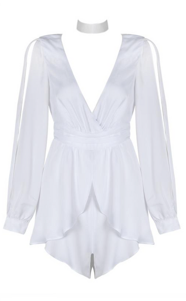 'Sheera' Deep V Playsuit Romper - White