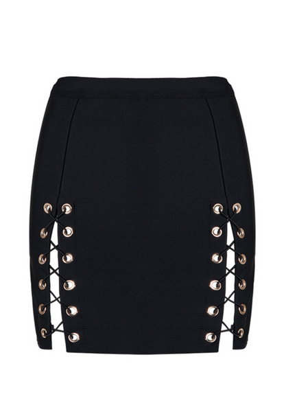 'Ramsay' Laced Bandage Skirt - Black