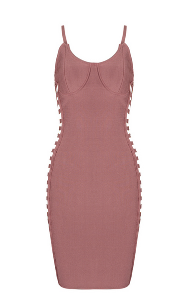 'Yovanna' Open Side Bandage Dress - Rose