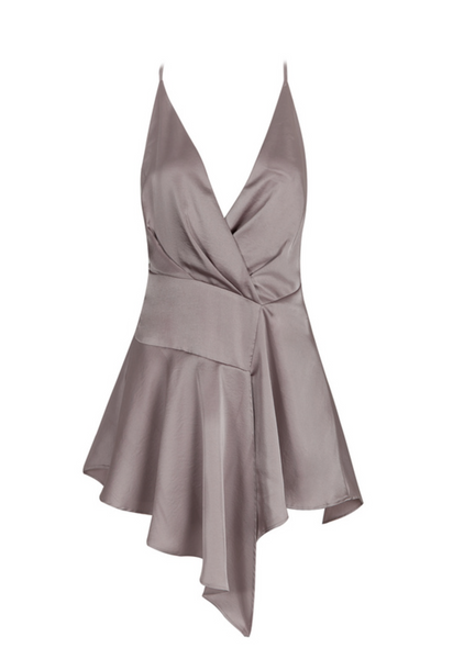 'Teige' Draped Satin Dress - Grey