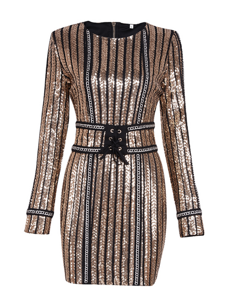'Miniche' Sequined Mini Dress - Gold
