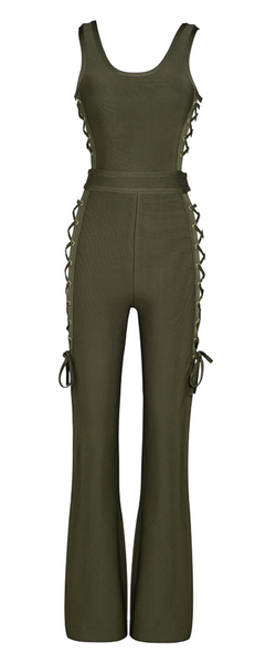 'Odella' Laced Up Jumpsuit - Khaki